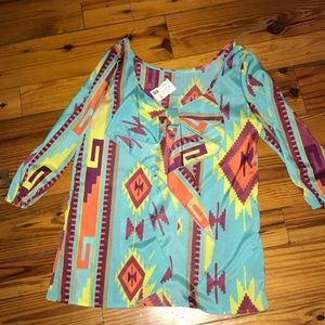 Coral tribal bow shirt